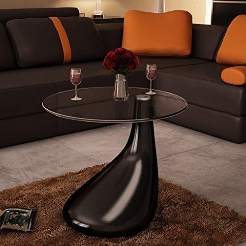 vidaXL Design Couchtisch LOUNGE TEAR schwarz Beistelltisch Glas Tisch Glastisch 1
