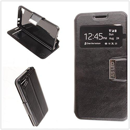 MISEMIYA - Schutzhülle Cover für Alcatel A5 LED - Hüllen, Cover View Buch Stütz,schwarz