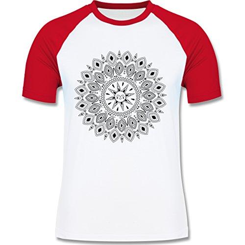 Boheme Look - Boho Mandala Yoga Sketch - zweifarbiges Baseballshirt für Männer Weiß/Rot
