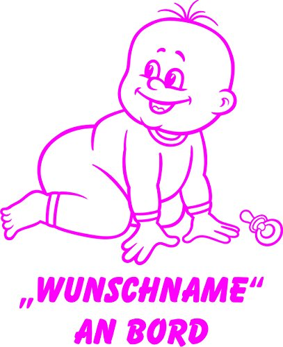 INDIGOS UG - Babyaufkleber / Kinderaufkleber 075 mit Wunschname / Wunschtext an Bord ca. 20 cm Höhe - Autoaufkleber in verschiedenen Farben