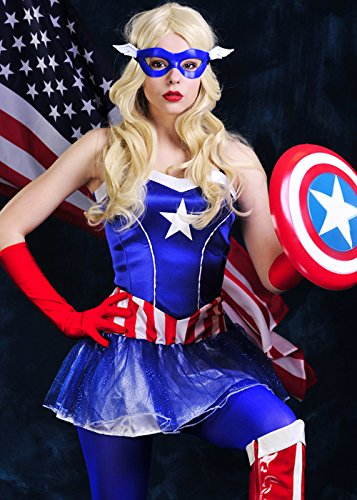 Womens Miss Captain America Tutu Kostüm XS (UK6-8) (Superhelden Tutu Kostüme)