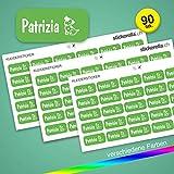Stickerella - 90 Namensaufkleber für Kinder - Namensetiketten für Schule und Kindergarten, personalisierbar, permanent, wasserfest (11 x 26 mm) (hellgrün)