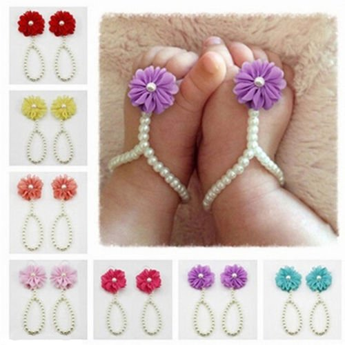 Bébé Perle Barefoot Chaussure Band en Perle Artificielle Toddler Pied Fleur Sandales Anklet Chain - Rose Rose Rouge