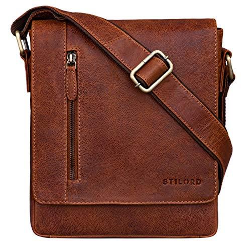 STILORD \'Easton\' Kleine Messenger Bag Echt Leder Vintage Umhängetasche im Hochformat 10,1 Zoll Tablet Tasche für iPad DIN A5 Schultertasche Echtleder, Farbe:Arona - braun