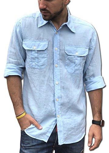 Camicie & dintorni camicia puro lino doppio taschino tg. m, l, xl, xxl, 3xl, 4xl uomo - manica lunga art. a19 (3xl, cielo)