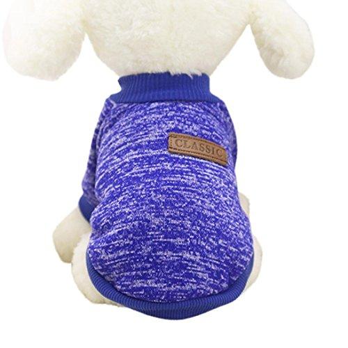 8 Farben Nette Haustier Hund Welpen klassischen Pullover Fleece Pullover Kleidung Warm Winter Strickwaren Mantel Bekleidung Kleidung (S, Dunkelblau)