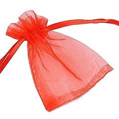 Idea Regalo - DEOMOR 100pz Sacchetti Organza Rosso Sacchettini per Confetti Matrimonio Comunione Battesimo 7*9cm