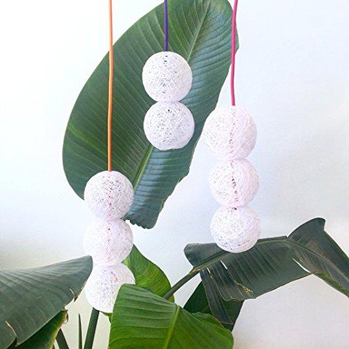 Lámpara de techo colgante dos bolas decorativa de hilo de algodón, artesanal, hecha a mano