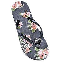 Womens/Ladies Floral Print Flip Flops Black 5/6
