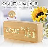 Réveil, Adhope LED Horloge Digitale Bois avec Température/Calendrier Luminosité Mode Vocal Trois Alarmes Alimenté par une batterie USB / AAA