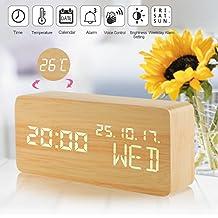 Despertadores Digitales, Relojes de Madera Comando de voz Tiempo Reloj Despertador LED de Viaje Cubo 3 Niveles Brillo 3 Alarmas Despertador digital Pantalla Hora Fecha Semana Temperatura para el dormitorio Oficina Inicio