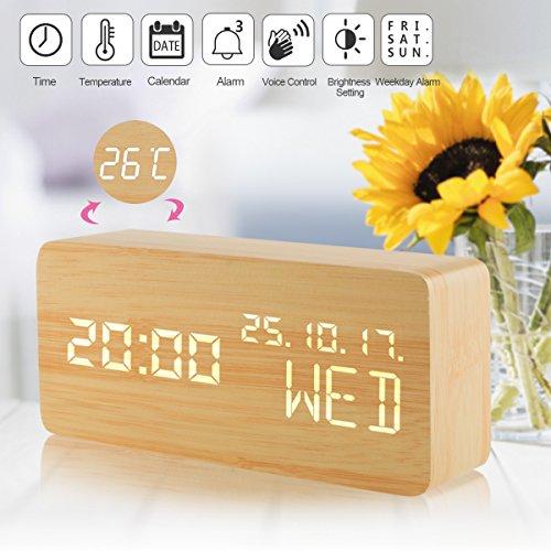 Holz Wecker Uhr Digital, Led Digital Wecker Kinder,Led Alarm Uhr Digital Tischuhr Holz, Led Digitaluhr Alarm Wecker, Hölzerne Wecker Zeit Datum Temperaturanzeige Stimme und Berührung Aktiviert