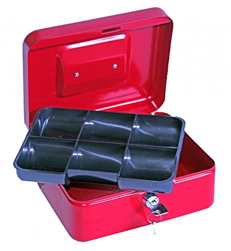 1Plus Geldkassette 20 x 16 x 9 cm, in weiß und rot (rot)