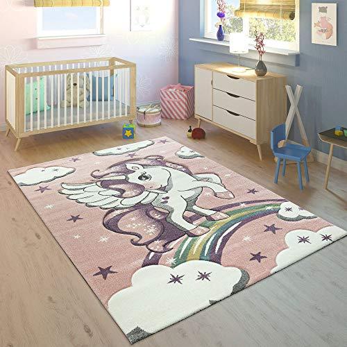 Alfombra Infantil Arco Iris Unicornio Pastel Rosa