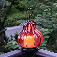 zenggp Glass Wrought Iron Pumpkin Hanging Lamp Outdoor Wall Lamp Garden Lighting Vintage Wrought Iron Amber,Red