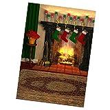 FLAMEER Puppenstuben Fotografie Kulisse Leinwand Weihnachten Wohnzimmer Kamin Hintergrund Szenen Für Minipuppe Fotografien Zubehör - 50 x 90 cm