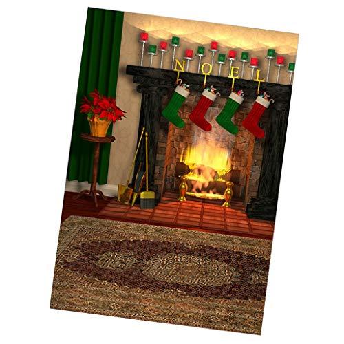 FLAMEER Puppenstuben Fotografie Kulisse Leinwand Weihnachten Wohnzimmer Kamin Hintergrund Szenen Für Minipuppe Fotografien Zubehör - 30 x 60 cm