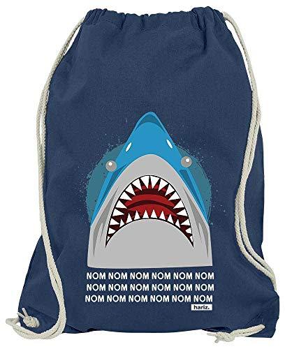 Kostüm Hai Links - HARIZ Turnbeutel Hungriger Hai Tiere Kindergarten Inkl. Geschenk Karte Navy Blau One Size