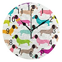 Use7 Home Decor Colorful Cartoon Dachshund Puppy Dog Round Acrylic Wall Clock Non Ticking Silent Clock Art for Living Room Kitchen Bedroom