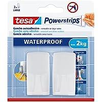 Gancho de plástico rectangular tesa powerstrips Waterproof, 2 ganchos + 4 tiras + toallitas