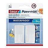 Tesa 59701-00002-00 - Gancho de plástico rectangular, resistente al agua, color, 2 ganchos + 4 tiras + toallitas