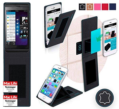 lackBerry Z10 Tasche Cover Case Bumper | Schwarz Leder | Testsieger ()