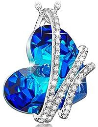 """NINASUN """"Cuore dell'oceano"""" 925 Argento Sterlina Blu Cuore Realizzato con Cristalli SWAROVSKI® Donna Collana Pendente"""