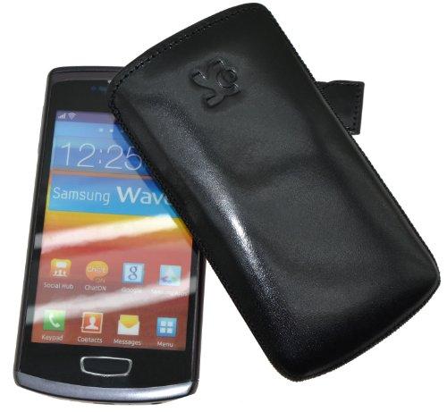 Original Suncase Tasche fuer / Samsung S8600 Wave 3 / Leder Etui Handytasche Ledertasche Schutzhuelle Case Huelle *Spezielle Anfertigung - Lasche mit Rueckzugfunktion* In Schwarz