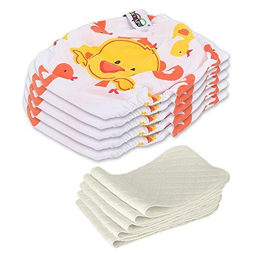 Preisvergleich Produktbild 5 Stück Wiederverwendbare Waschbare Verstellbar Babywindeln Baby Windelhose Baby-Tuch-Windel Weicher Stoff Größe Verstellbar (Ente)