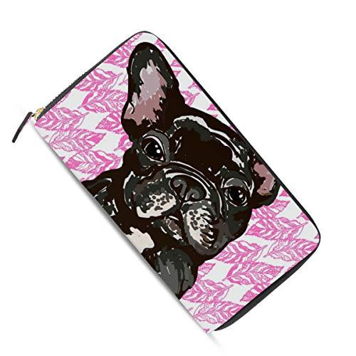 Französisch Geldbörse Damen Brieftasche (Ahomy Damen Geldbörse mit Reißverschluss, französische Bulldogge und Blätter, PU-Leder)