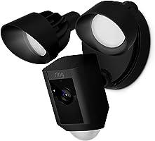 Ring Floodlight Cam - Cámara de seguridad con focos, comunicación bidireccional, alarma y conexión wi-fi, negra