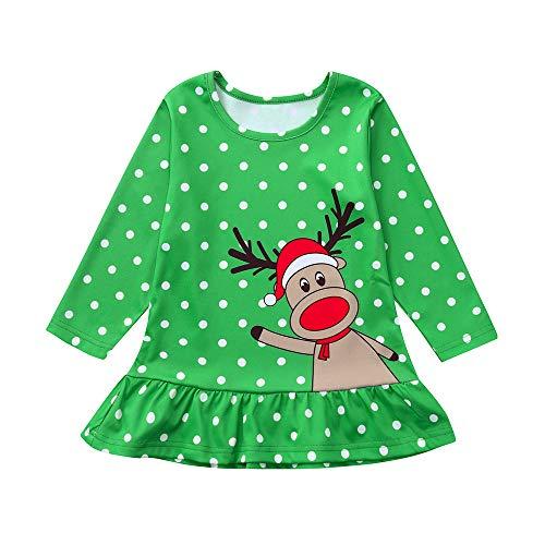 Disfraz Navidad Vestido para Bebe Niñas 6 Meses-4 años Invierno 2018 Moda PAOLIAN Vestido de Princesa Niñas Manga Largas Estampado Lunares y Elk Otoño Ropa Traje de Navidad Decoracion