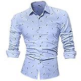 Binggong Herren Shirt ,Persönlichkeit Männer Sommer Trend Hohe Qualität Casual Schlank Langarm Gefleckt Druck Shirt für Bügel Tops