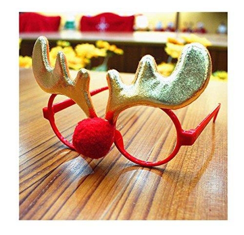 rty-Gläser Lustige Weihnachts Brillen Rahmen Stützen Weihnachts Schmuck Geschenke für Kinder und Erwachsene (Elch) (Elch-brille)