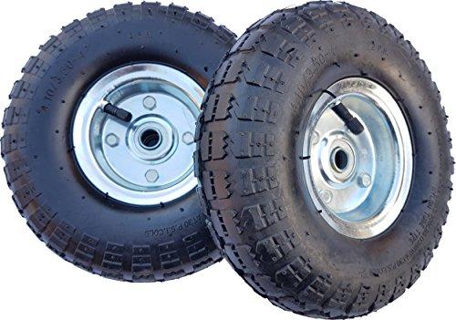 2 x Frosal Luftrad Bollerwagen Ø 260 mm 4.10/3.50-4 | Ersatzrad Reifen Sackkarre | Achse 16 mm | Rad mit Kugellager | Stahlfelge silber