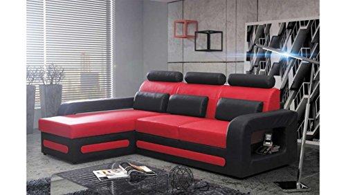 JUSTyou Bergamo Mini Canapé d'angle Sofa canapé lit Simili Cuir (HxLxl): 98x270x180 cm Noir Rouge Angle Gauche