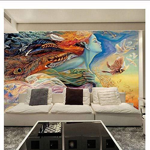 Qbbes Benutzerdefinierte Wandbild Tapete 3D Abstrakte Figur Graffiti Malerei Kino Bar Ktv Schlafzimmer Sofa Tv Hintergrund Dekoration Tapete-280X200Cm