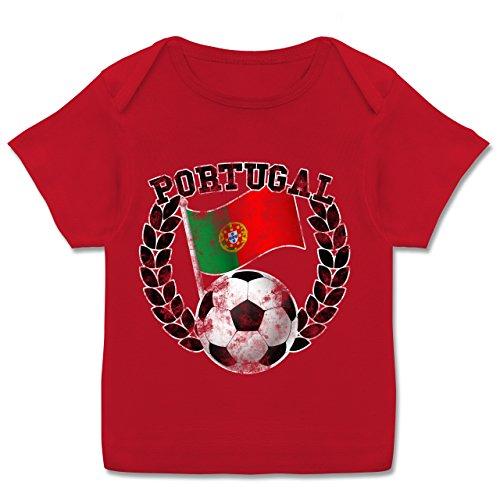 Fußball-WM 2018 Russland - Babys - Portugal Flagge & Fußball Vintage - 56-62 (2-3 Monate) - Rot - E110B - Kurzarm Baby-Shirt für Jungen und Mädchen in verschiedenen Farben (Fußball-baby-t-shirt)