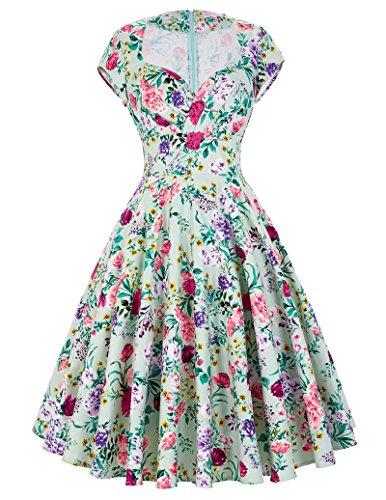 Yafex Damen Cocktailkleid Knielang Vintage Retro Kleid M BP000001-12