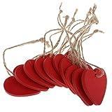 Sharplace 10er Pack Herz Holz Anhänger Holz Scheiben Geschenkanhänger Namenskarte Handwerk Etiketten Plaketten Hochzeit Verzierung Party Deko - rot