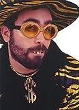shoperama Big Daddy Rapper Accessoire Set Hip-Hopper Glitzer Brille Kette Dollarzeichen Goldzähne