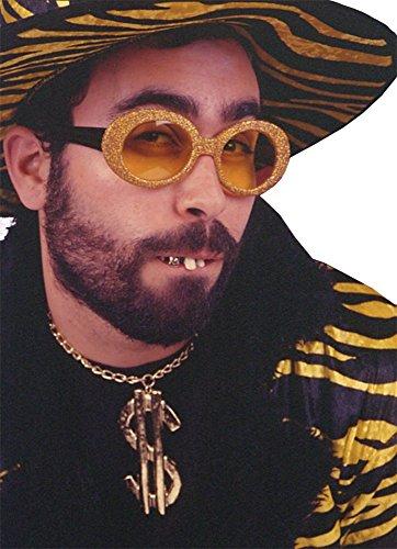 essoire Set Hip-Hopper Glitzer Brille Kette Dollarzeichen Goldzähne (Dollarzeichen Halskette)