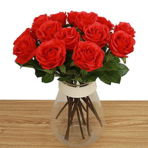 Toechmo High Quality Artificial Flowers, Real Touch Flowers Silk Artificial Rose Flowers Home decorations for Bridal Wedding Bouquet, Birthday Flowers Bunch Hotel Party Garden Floral Decor (Red)