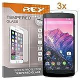 Pack 3X Pellicola salvaschermo per Google Nexus 5 D820 D821, Pellicole salvaschermo Vetro Temperato 9H+, di qualità Premium, Elettronica Rey
