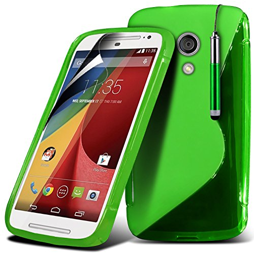 Motorola Moto G 2nd Generation Moto G2 Blue High Quality Designed Premium-Tough Survivor Robuste Hart Shock Proof Heavy Duty-Fall-Haut-Abdeckung mit LCD-Display Schutzfolie, Reinigungstuch und Mini-ve WGEL Green + Pen