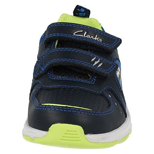 Clarks Passare formatori Casual del ruggito Inf ragazzo in pelle blu marino o RED Navy