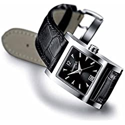 Eberhard The Clock courbees 61007Quartz (Rechargeable) Steel quandrante Anthracite Leather Strap