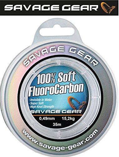 Savage Gear Soft Fluorocarbon Schnur 0,49mm 35m 15,2kg Angelschnur monofil, Fluoro Carbon Schnur, Vorfachschnur, Leader für Vorfächer -