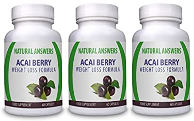Acai Berry Weight Loss Formula by Natural Answers - High Quality Dietary Supplement - Maximum Strength Pure Acai Berry Pills - Quick Weight Loss Assistance Fat Burning Supplement - Three Month Supply - Organic Antioxidant Diet Pill - Two Daily Servings To