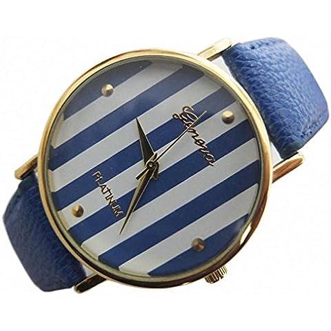 promiseu Fashion Base Hot New strisce verde chiaro con quadrante grande in pelle Band orologio da donna Blue - Crystal Watch Quartz Pendant